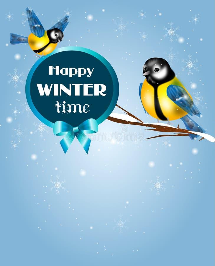 Зимнее время Chickadee иллюстрация штока
