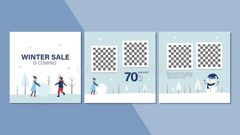 Зимний баннер для рекламы на веб-сайте или в Интернете Зимой сезон продаж рекламирует фон зима приближается иллюстрация вектора