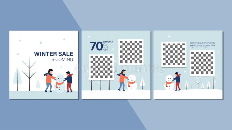 Зимний баннер для рекламы на веб-сайте или в Интернете Зимой сезон продаж рекламирует фон зима приближается бесплатная иллюстрация