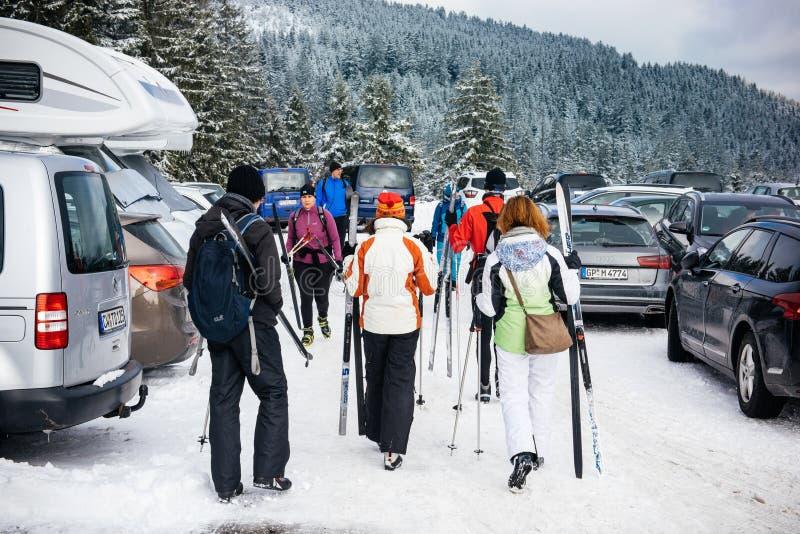 Зимний день с снегом с вид сзади группы в составе друзья в skiin стоковые фото