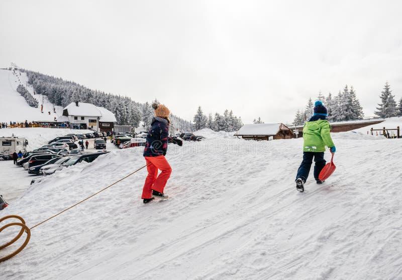 Зимний день с снегом и счастливые дети взбираясь sledding склоняют стоковые изображения