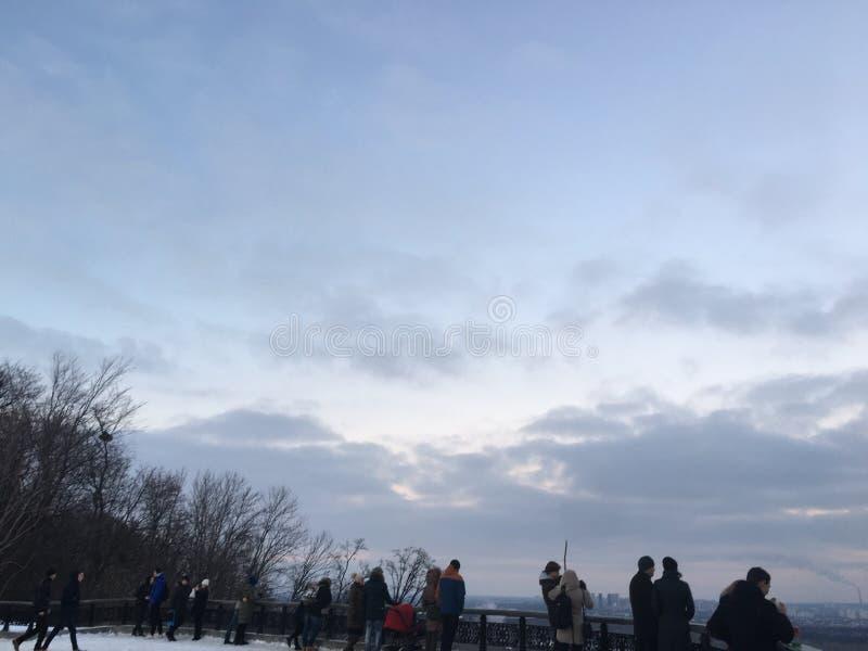 Зимний день в Киеве стоковое фото rf