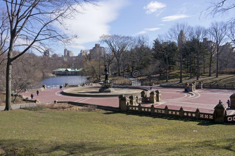 Зимний день Central Park Нью-Йорка террасы и фонтана Bethesda солнечный стоковые фотографии rf
