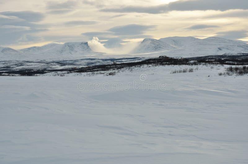 Зимний ландшафт в шведском языке Лапландии стоковое изображение