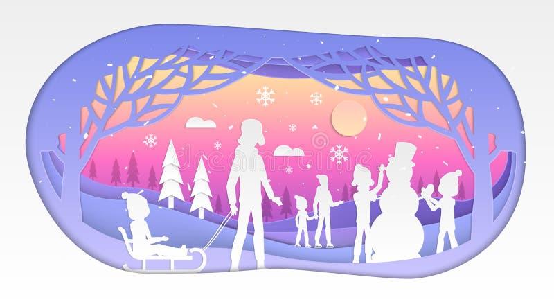Зимний отдых - современная иллюстрация отрезка бумаги вектора иллюстрация вектора