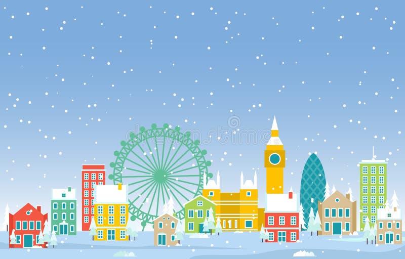 Зимний снег в лондонском центре Cityscape Skyline Landmark Building Иллюстрация бесплатная иллюстрация