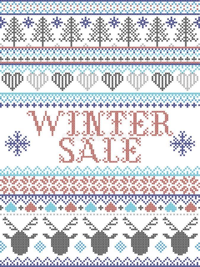Зимняя иллюстрация в стиле скандинавского, вдохновленная норвежским Рождеством, праздничный зимний узор, зашитый серым синим цвет стоковое изображение