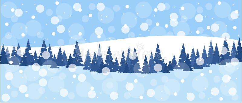 Зимняя природа, пейзаж поле с деревьями, снежно-белыми холмами, сноудриями, небом с снежинками, луга Иллюстрация вектора иллюстрация вектора