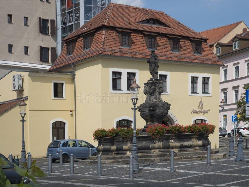 Зиттау, Саксония, Германия, 11 июля 2019 года: Фонтан Барокко на старой рынРстоковые изображения rf