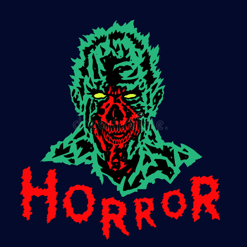 Злая голова демона с сорванной стороной также вектор иллюстрации притяжки corel иллюстрация штока