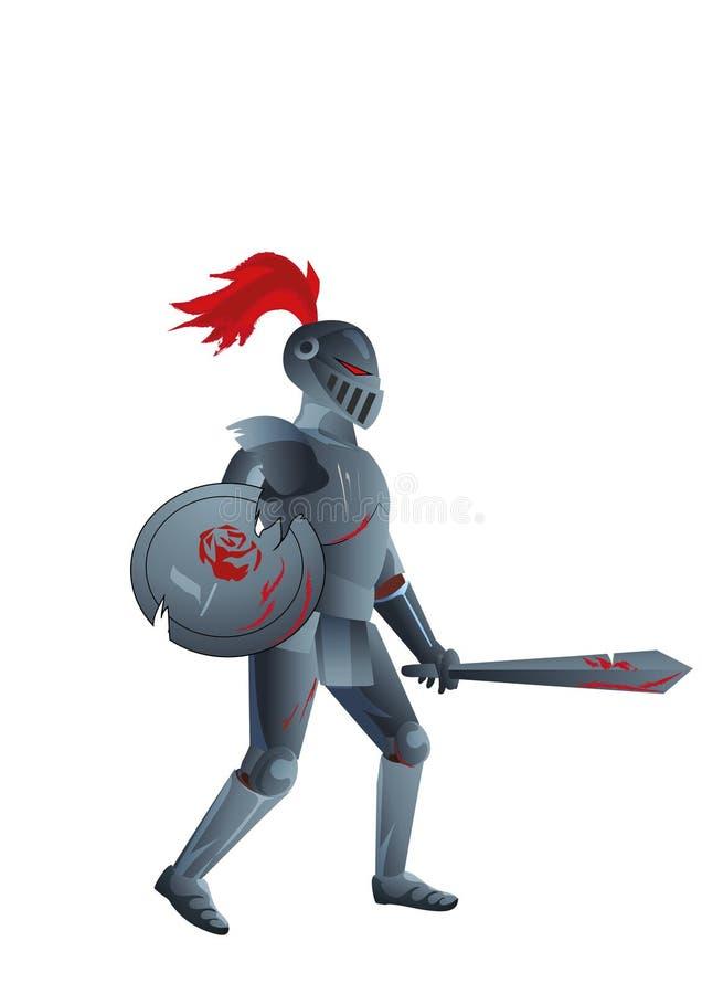 Злий рыцарь с розой на экране иллюстрация вектора