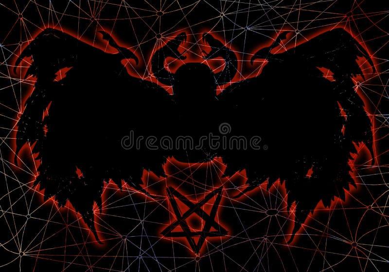 Злий силуэт, который подогнали демона и пентаграммы на текстурированной предпосылке иллюстрация штока