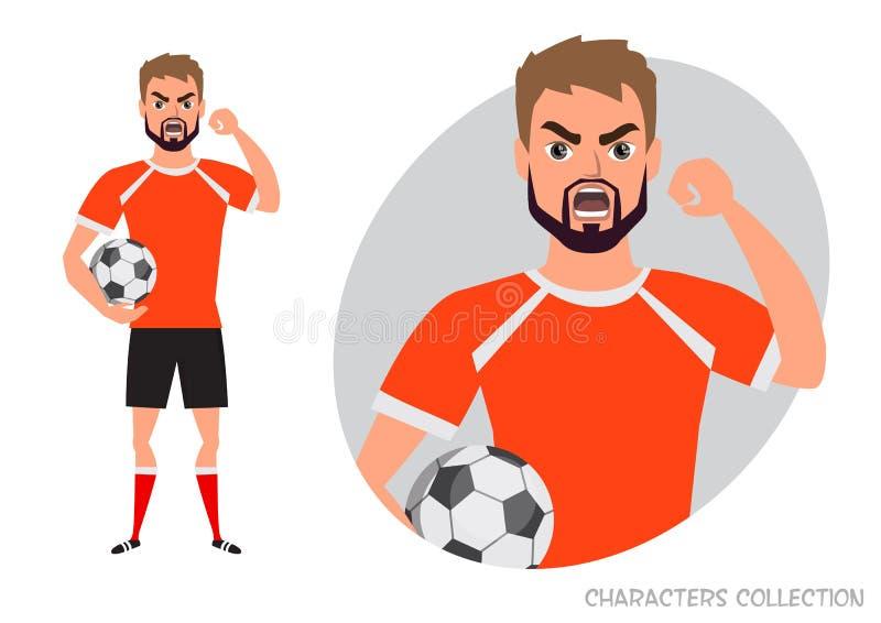 Злий футболист угрожает с его рукой Сердитый футболист взволнованности отрицательные Плохие дни Плохое настроение напряжённое иллюстрация вектора