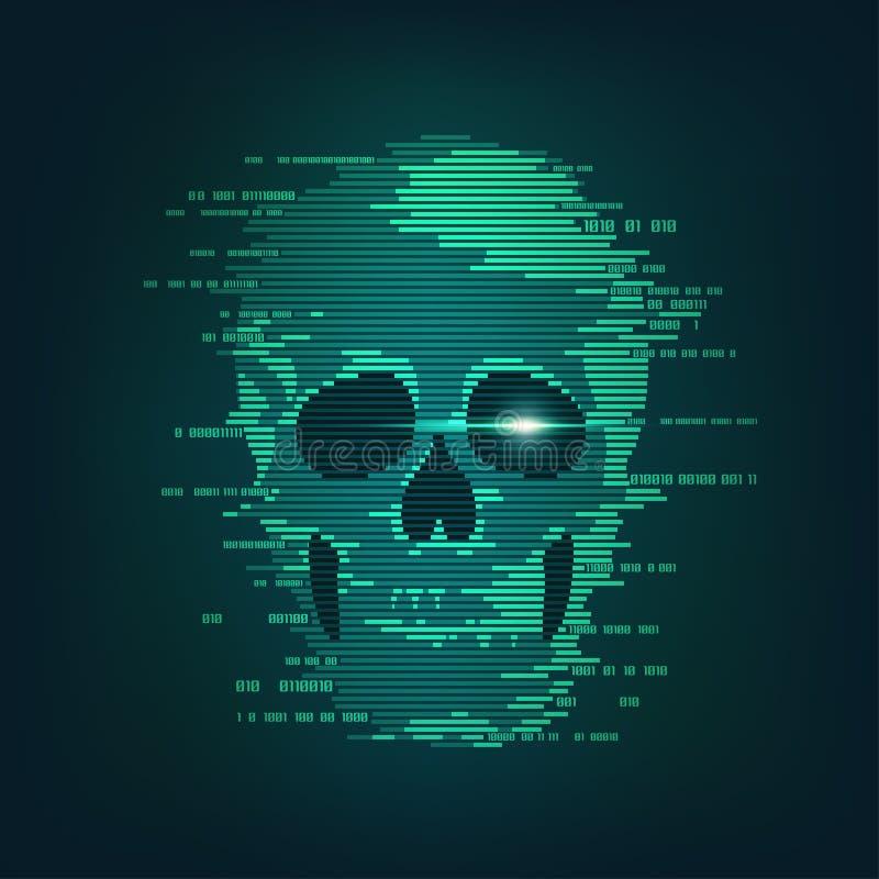 Злодеяние кибер иллюстрация вектора
