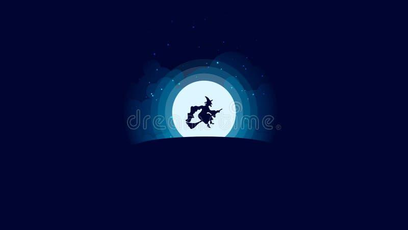 Злое летание ведьмы на венике перед луной на ноче стоковая фотография