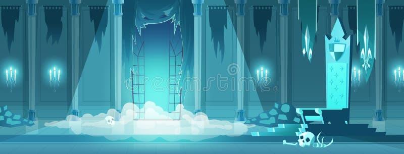 Злой вектор мультфильма комнаты трона замка короля бесплатная иллюстрация