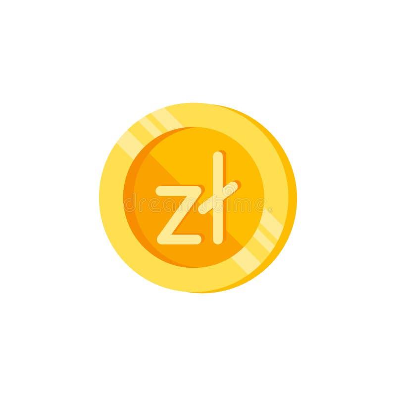 Злотый, монетка, значок цвета денег Элемент знаков финансов цвета Наградной качественный значок графического дизайна знаки и собр иллюстрация вектора
