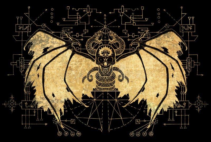 Зло подогнало демона с геометрическими линиями на черной предпосылке иллюстрация штока
