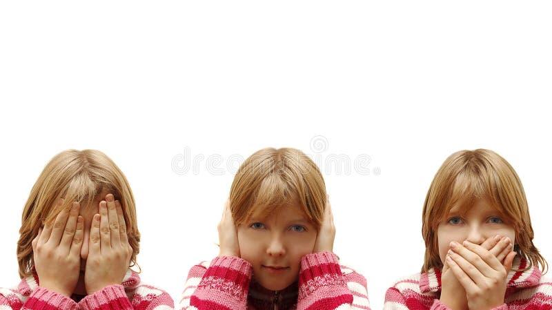 зло слышит никак для того чтобы увидеть для того чтобы поговорить стоковое фото rf
