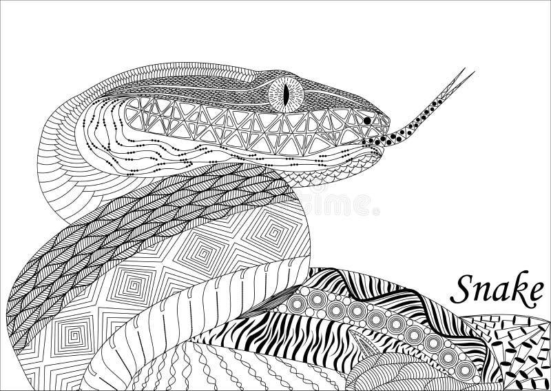 Змейка в стиле zenart, светотеневой чертеж, doodle, differen стоковая фотография rf