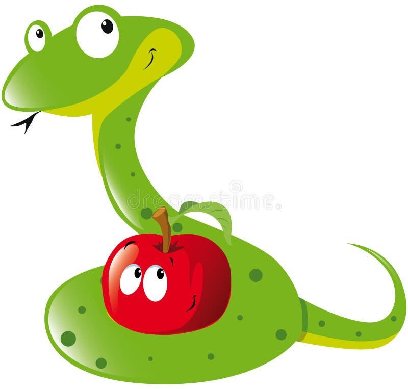 Змейка и яблоко иллюстрация вектора