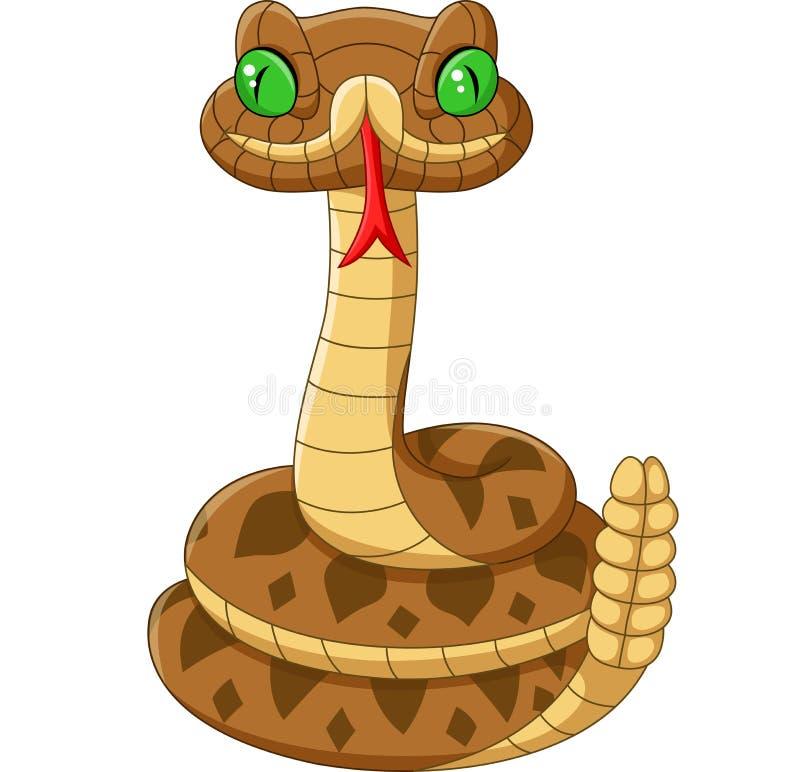 Змейка коричневого цвета мультфильма на белой предпосылке иллюстрация штока