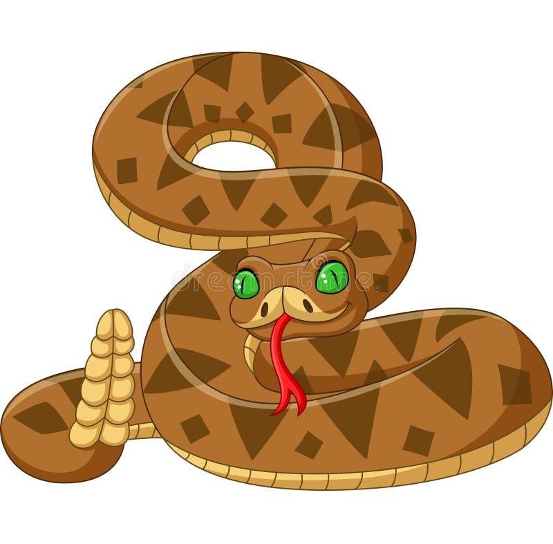 Змейка коричневого цвета мультфильма на белой предпосылке бесплатная иллюстрация