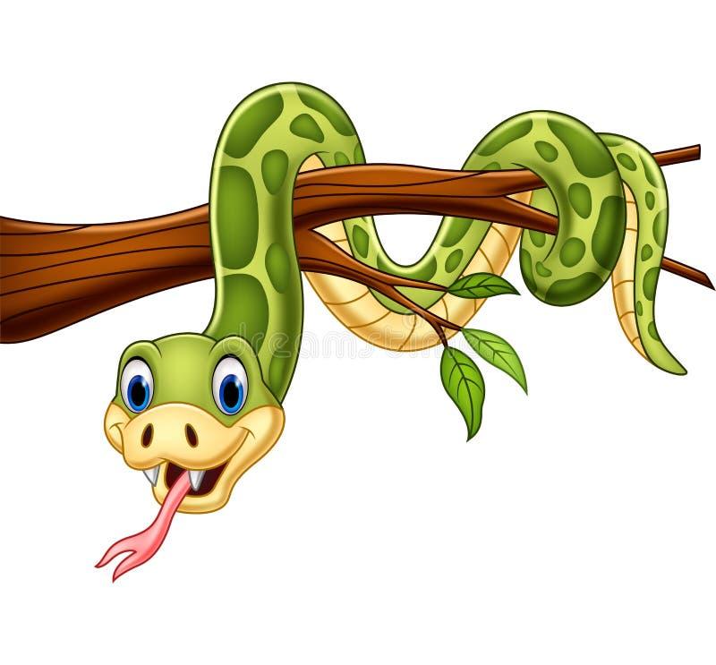 Змейка мультфильма зеленая на ветви дерева иллюстрация штока