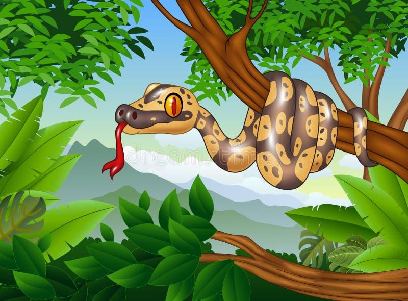 Змейка питона шаржа королевская проползая на ветви иллюстрация штока