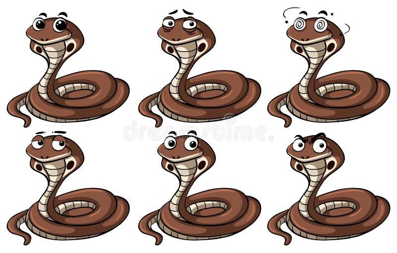 Змейки кобры с различными эмоциями бесплатная иллюстрация