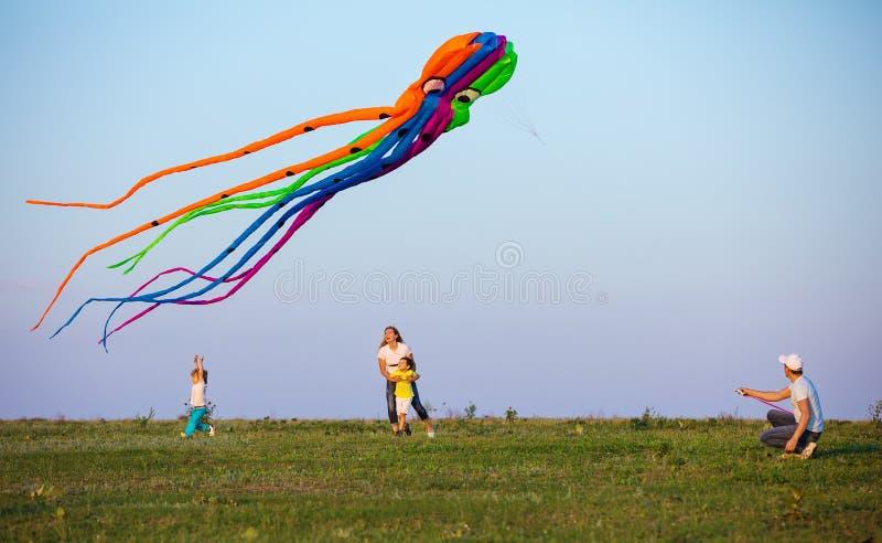 Змей летания семьи совместно на зеленом поле стоковая фотография