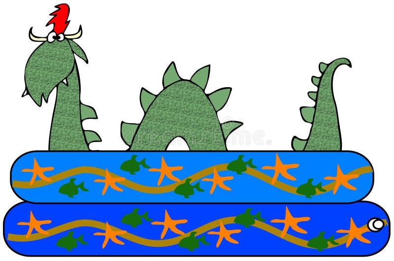 Змей моря в бассейне kiddie иллюстрация вектора