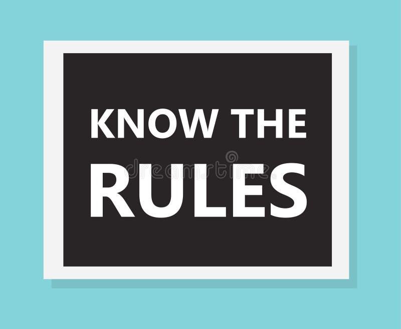 Знайте концепцию правил иллюстрация штока