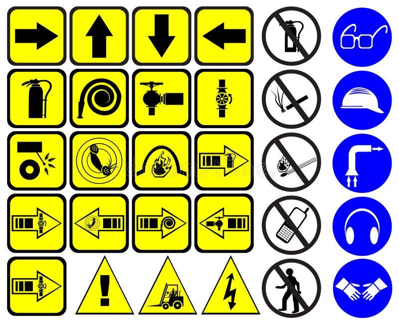 знаки безопасности установленные иллюстрация вектора