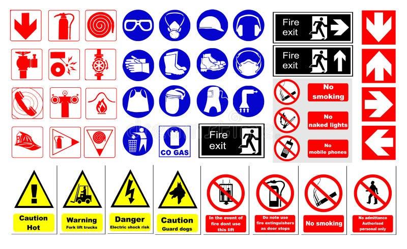 знаки безопасности иллюстрация вектора