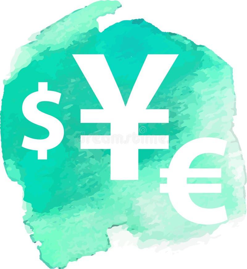 Знаки валюты доллара, евро, фунта и иен на предпосылке акварели бесплатная иллюстрация