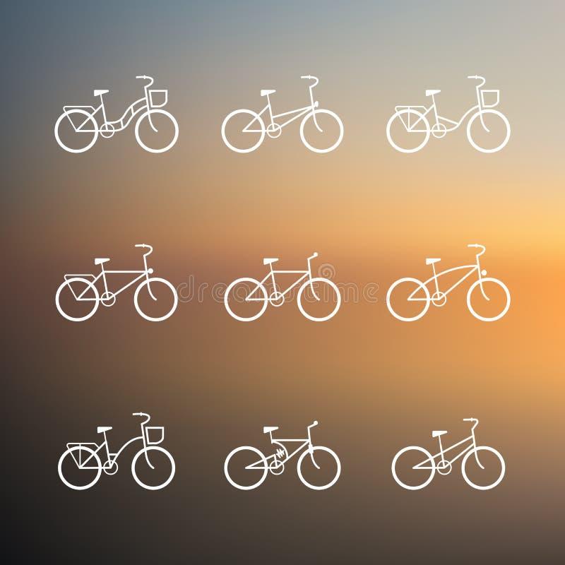 Знаки велосипеда комплект вектора простых значков велосипеда иллюстрация штока