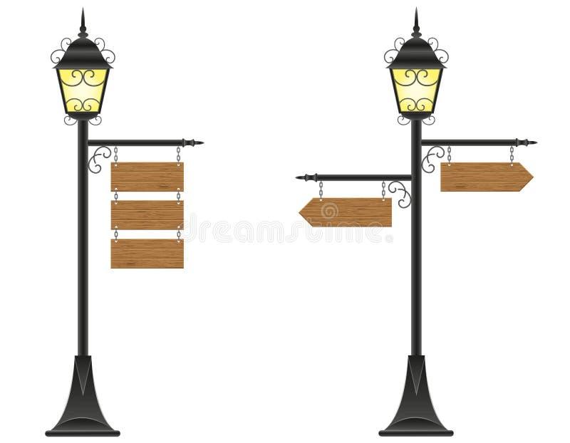 Знаки деревянных доск вися на уличном свете иллюстрация вектора