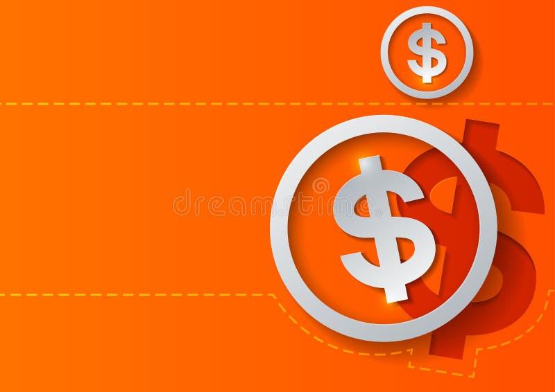 Знаки доллара на оранжевой предпосылке иллюстрация вектора