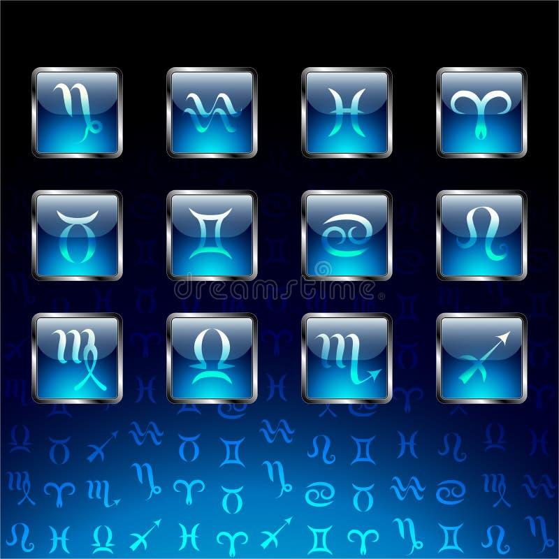 Знаки зодиака на лоснистых значках бесплатная иллюстрация