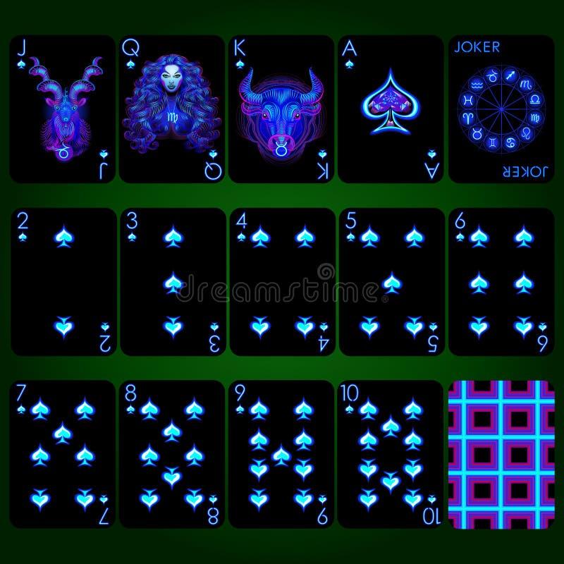 Знаки зодиака серии играя карточек неоновые Комплект играя карточек костюма лопаты полный стоковое изображение rf