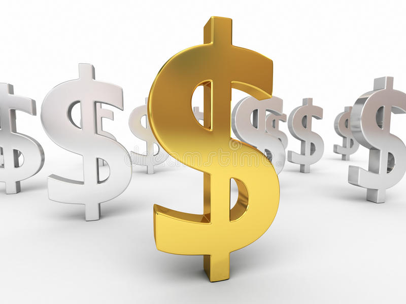Знаки золота и серебряного доллара бесплатная иллюстрация