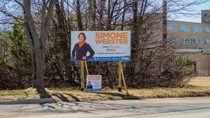 Знаки избрания NDP PEI на захолустное избрание 2019 в Charlottetown, Канаде стоковые изображения rf