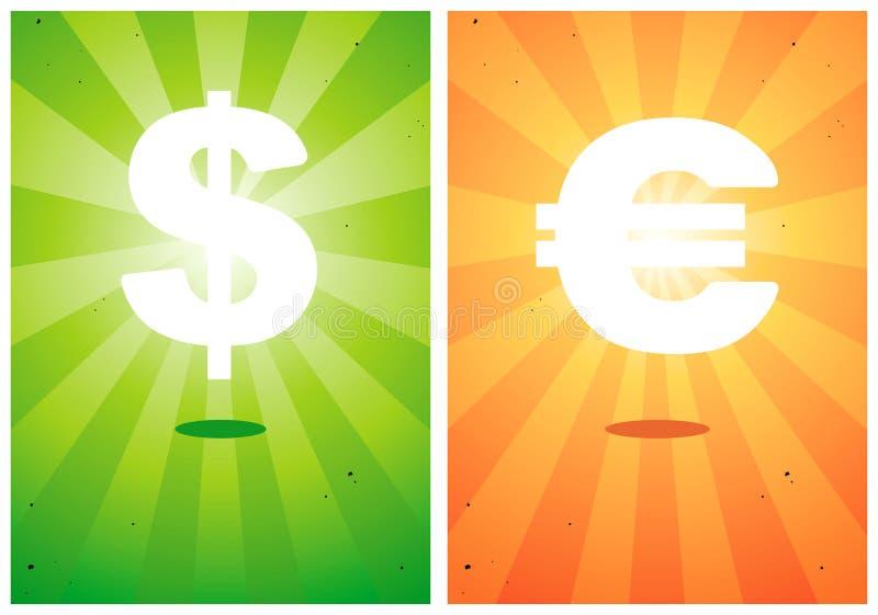 знаки иллюстраций евро доллара иллюстрация штока