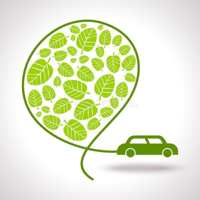 Знаки и значки экологичности с автомобилем иллюстрация вектора