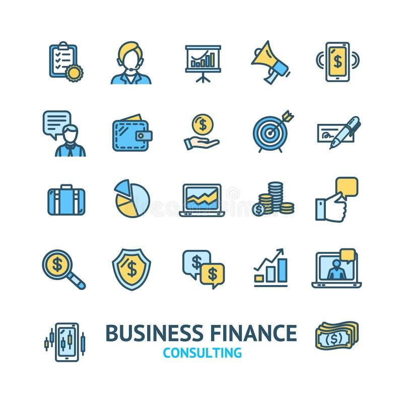 Знаки консультаций по бизнесу красят тонкую линию набор значка r иллюстрация штока