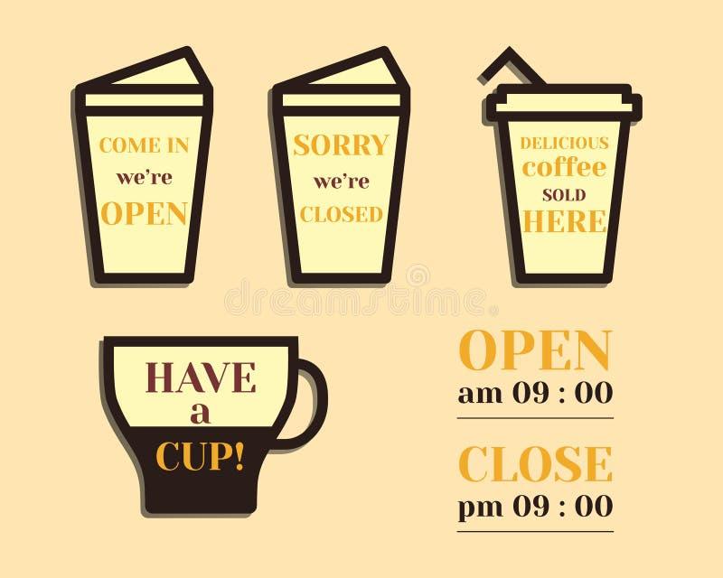 Знаки кофе Открытые и закрытые элементы отцы бесплатная иллюстрация