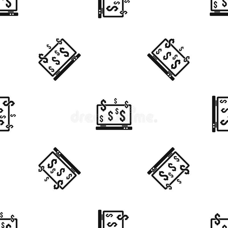 Знаки монитора и доллара компьютера делают по образцу безшовную черноту бесплатная иллюстрация