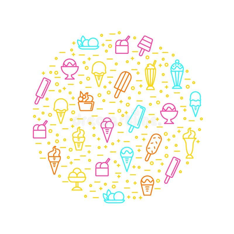 Знаки мороженого утончают линию круглый шаблон дизайна вектор иллюстрация штока