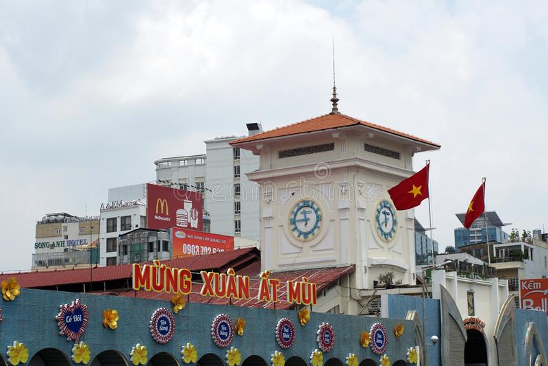 Знаки над рынком во Вьетнаме стоковая фотография rf